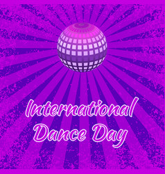 international dance day purple mirror ball vector image