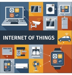 Internet of things flat icons composition vector image