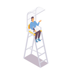 Isometric referee sits on umpire chair with a vector