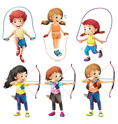 Kids with different hobbies vector image