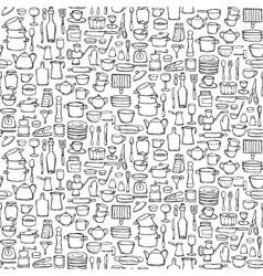 Kitchen Doodle Seamless Pattern vector