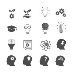 Knowledge and creative thinking icons set vector