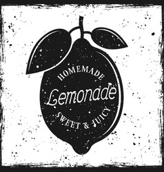 lemon silhouette with text homemade lemonade vector image