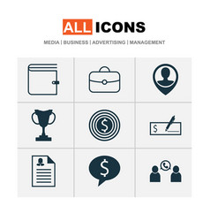 management icons set with dollar bank check vector image