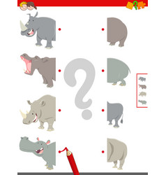 Match halves of animals educational game vector