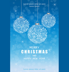 merry christmas snowflakes decorations card in vector image