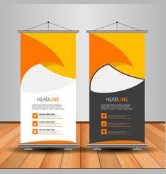 modern orange roll up banner advertising template vector image