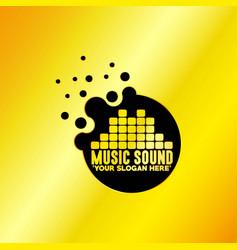 music emblem with golden background vector image
