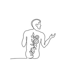 Nude man sitting back continuous one line drawing vector