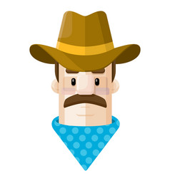 old west cowboy flat icon avat vector image