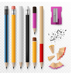 pencil mockup realistic colored wooden graphite vector image
