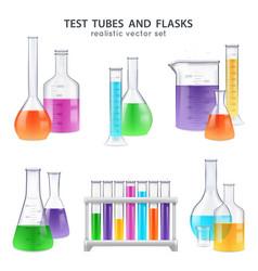 Realistic test-tubes retorts set vector