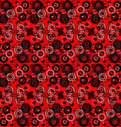 Red and black abstract background with circles vector image