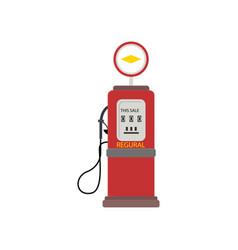 Retro red petrol dispenser isolated on white vector