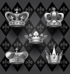 Royal crowns set in black and white colors on vector
