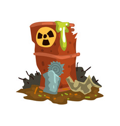 Rusty flowing barrel of nuclear waste toxic waste vector