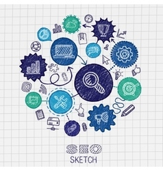 SEO hand drawing integrated sketch icons vector image