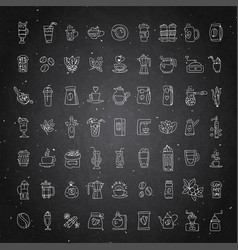 Set coffee icons on black chalk vector