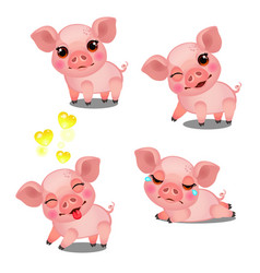 set emotions a little animated pink pigs vector image