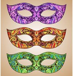 Set of three ornate floral Venetian carnival masks vector image