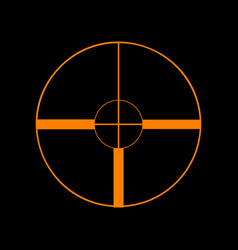 sight sign orange icon on black vector image