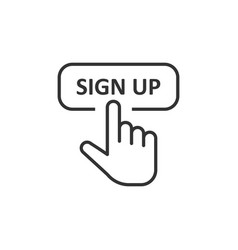 sign up icon in flat style finger cursor on white vector image