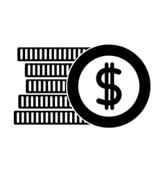 Silhouette coins cash money with peso symbol vector