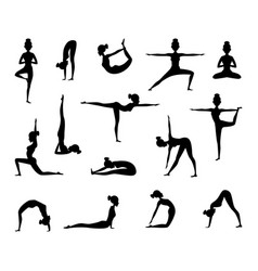 Silhouette of female wich making yoga vector