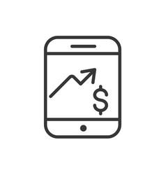 smartphone chart profit finance bank money icon vector image