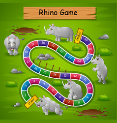 Snakes ladders game rhinos theme vector