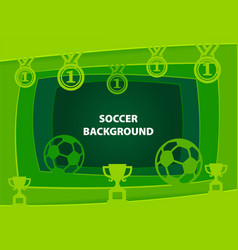 soccer abstract background with paper cut shapes vector image