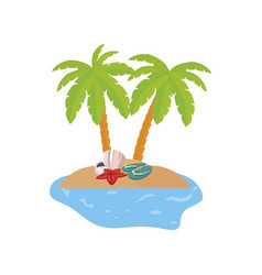 Summer coastline scene with palms and female hat vector