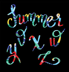 summer lettering tropical letters with decorative vector image