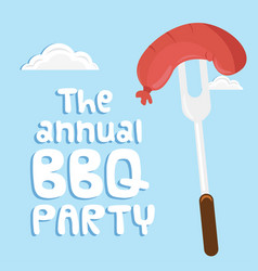 the annual bbq party sausage on fork background ve vector image