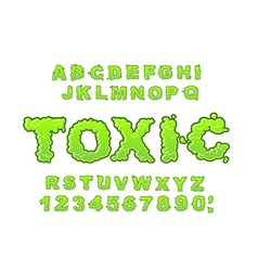 Toxic font Green liquid ABC Acid typography vector