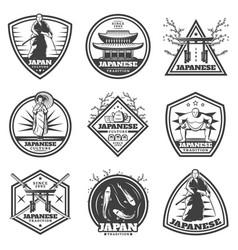 Vintage japanese culture labels set vector