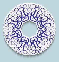 White ring frame with blue openwork pattern on vector