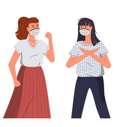 woman in protective medical face masks characters vector image