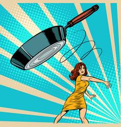Woman throws a frying pan vector