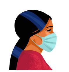 woman wears medical mask virus and disease vector image