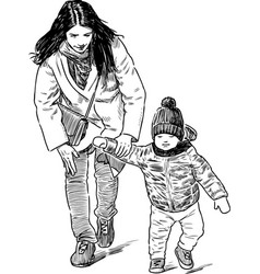 young mother with her kid walking vector image
