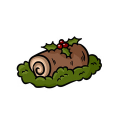 Yule log topped with berries colorful doodle vector