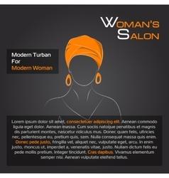 Arabic woman in orange turban on black vector