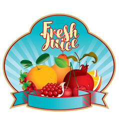 banner fresh juice with various fruits and berries vector image