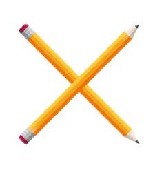 crossed pencils school icon vector image vector image