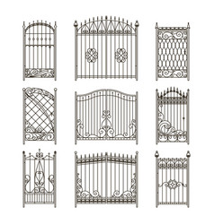 pictures of iron doors or gates with swirls vector image vector image