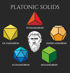 Platon solid set colored icons vector
