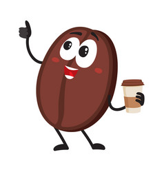 Funny coffee bean character with paper cup showing vector