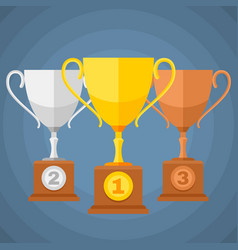 gold silver and bronze winners sports trophy cups vector image vector image