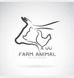 group of animal farm label cowpigchickenegg vector image vector image